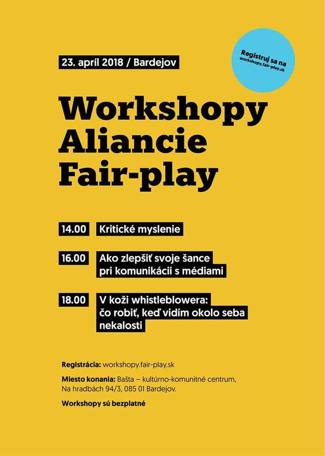 Bašta: Workshopy Aliancie Fair-play